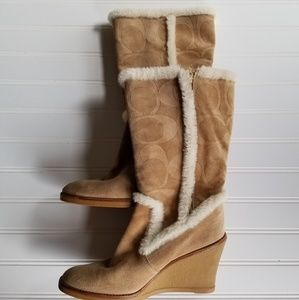 Coach Suede Shearling Wedge  Boots Size 7.5